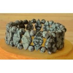 Bracelet Obsidienne mouchetée losange