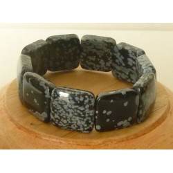 Bracelet Obsidienne mouchetée square 20mm