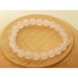 Bracelet Quartz rose Perles rondes 8mm