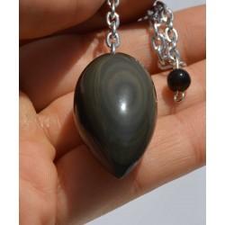 Obsidienne Oeil Céleste pendule Oval