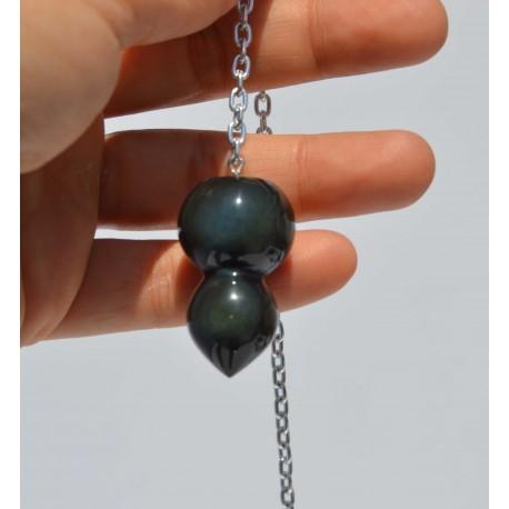 Obsidienne Oeil Céleste pendule double sphere
