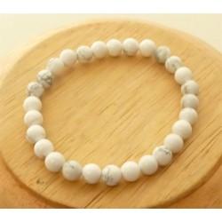 Bracelet Howlite Perles rondes 6mm