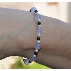Bracelet Shungite +  Perle + Calcedoine