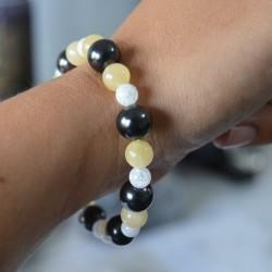 Bracelet Shungite, Cristal de roche et Calcite Jaune