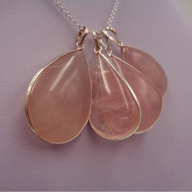 Pendentif goutte quartz rose
