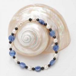 Bracelet Shungite + Cianite + Perle