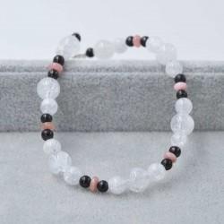 Bracelet Shungite + Cristal de Roche + Rhodocrosite