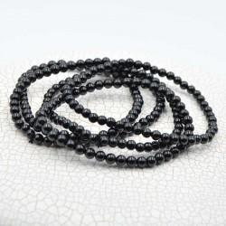 Tourmaline noir bracelet perles rondes 4mm