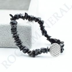 Bracelet Obsidienne neigeuse baroque avec Fleur de Vie