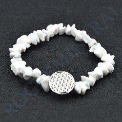 Bracelet Howlite baroque avec Fleur de Vie