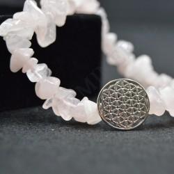 Bracelet Quartz Rose baroque avec Fleur de Vie