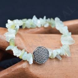 Bracelet Jade baroque avec Fleur de Vie