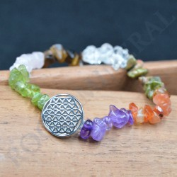 Bracelet 7 Chakkras  baroque avec Fleur de Vie