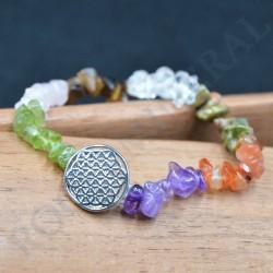 Bracelet 7 Chakkra  baroque avec Fleur de Vie
