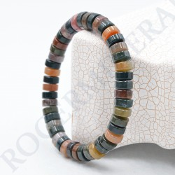 Bracelet Jaspe Polychrome perles plates 10mm