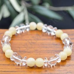 Bracelet Calcite Jaune et Cristal d Roche