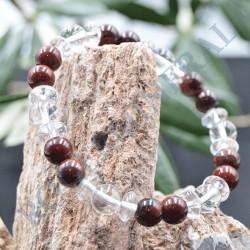 Bracelet Obsidienne Marron et Cristal de Roche