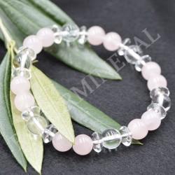 Bracelet Quartz rose Perles et Cristal de Roche