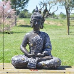 Grande statue de Bouddha de la méditation en résine, couleur noire