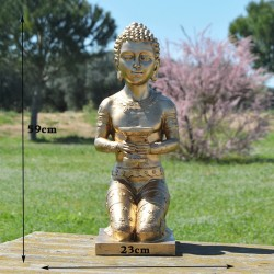 Grande statue de Bouddha européen de l'offrande, résine couleur or