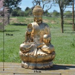 Grande statue de Bouddha de la bénédiction, résine et couleur or