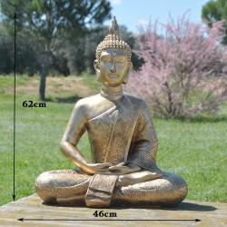 Grande statue de Bouddha de la méditation, résine couleur or