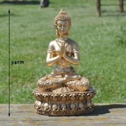Bouddha de la prière méditative en résine couleur or