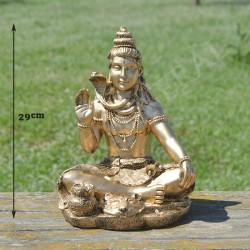 Bouddha de la bénédiction et de la connaissance, résine couleur or
