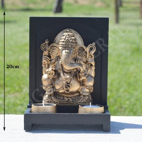 Tableau Ganesh et porte bougie résine couleur or
