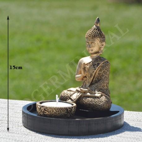Bouddha centrage et bénédiction, résine, couleur or