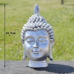 Tête de Bouddha en résine, couleur argent