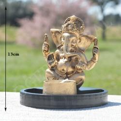 Ganesh en résine, or et porte bougie