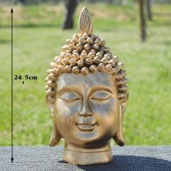 Tête de Bouddha en résine, couleur or