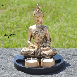 Bouddha de la méditation en résine, couleur or et portes bougies