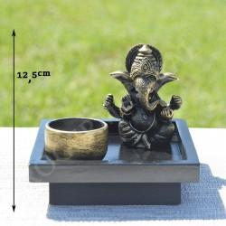 Ganesh et son support en résine avec porte bougie