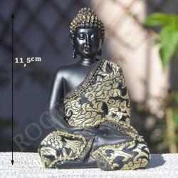 Bouddha noire de la méditation en résine et vêtu de tissu brodé