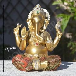 Ganesh en résine, vêtu de vêtement brodé
