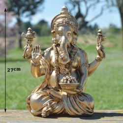 Ganesh en résine couleur or
