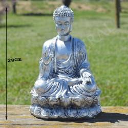 Bouddha de la bénédiction résine couleur argent