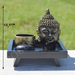 Tête de Bouddha et porte bougie en résine
