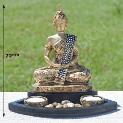 Bouddha de la méditation en résine couleur or