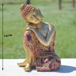 Bouddha de la réflexion en résine et vêtu de tissu brodé