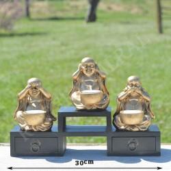 3 Bouddhas Je ne vois rien, je n'entends rien et je ne dis rien, résine