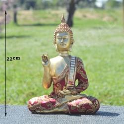 Bouddha de la bénédiction en résine, vêtu de tissus brodé