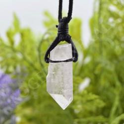 Pendentif Cristal de Roche brut + cordon
