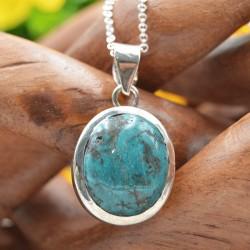 Pendentif Turquoise du Tibet argent MPPTP/9-45