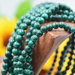 Bracelet Malachite perles rondes 4mm