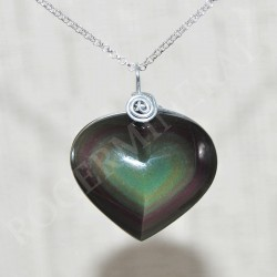 Obsidienne oeil céleste pendentif coeur