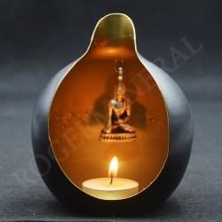 Porte bougie en métal orné d'un Bouddha