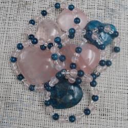 Bracelet Apatite, Cristal de roche et Quartz rose